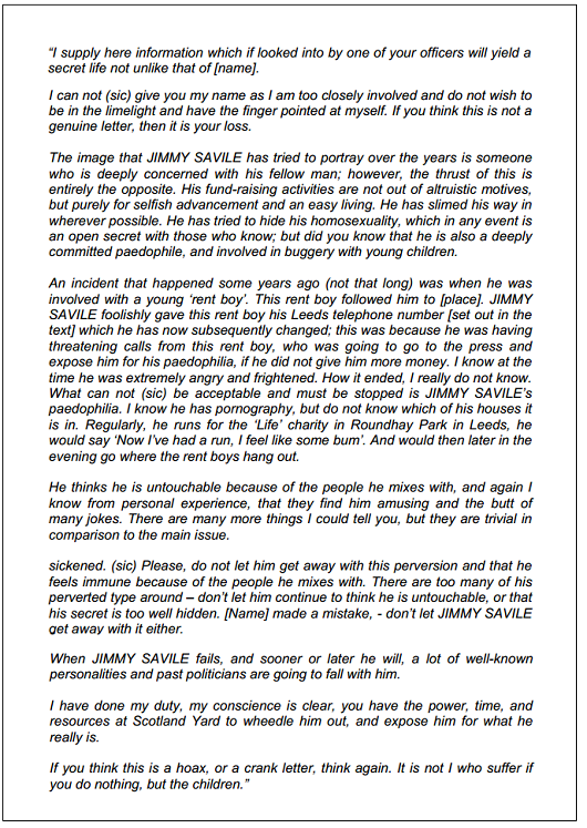 savile letter