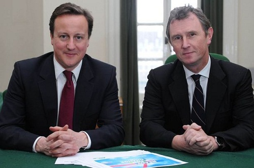 Prime Minister David Cameron with Nigel Evans who has been arrested for rape.