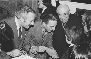 Lord Greville Janner (left) ,when he was an MP, and George Thomas, Speaker of the House, middle, with a party of schoolboys at the House of Commons in 1976