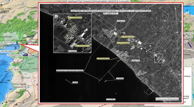 2750062 12/02/2015 Concentration of vehicles near Dortyol in Turkey. Maximum available quality. (Still frames of the Russian Defense Ministry.)/Ministry of defence of the Russian Federation
